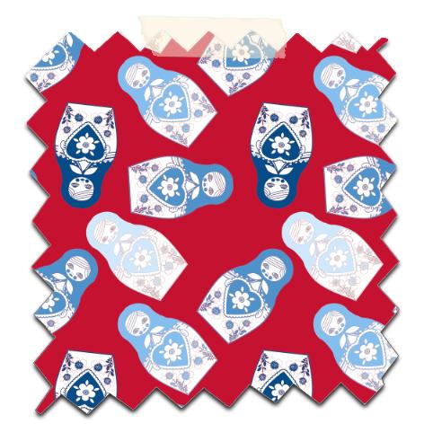 gratuit papier scrapbooking motif poupée russe twist bleu fond rouge Free printable patterned papers