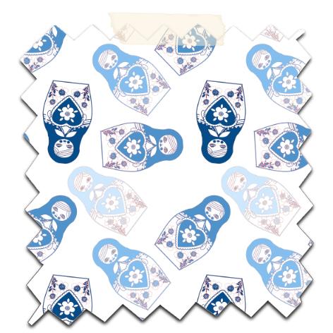 gratuit papier scrapbooking motif poupée russe twist bleu Free printable patterned papers