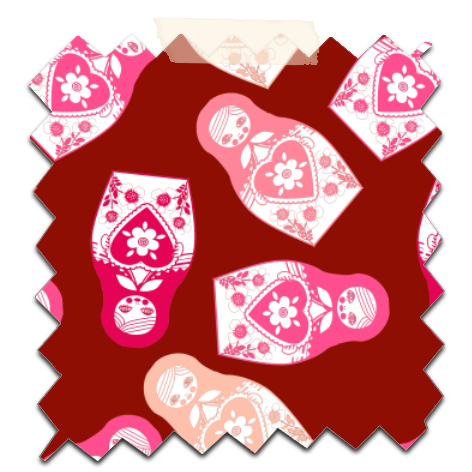 gratuit papier scrapbooking motif poupée russe twist rose fond rouge Free printable patterned papers