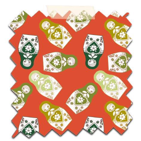 gratuit papier scrapbooking motif poupée russe twist vert fond orange Free printable patterned papers