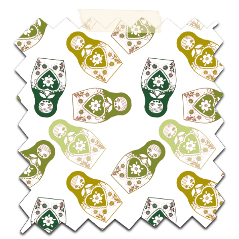 gratuit papier scrapbooking motif poupée russe twist vert Free printable patterned papers