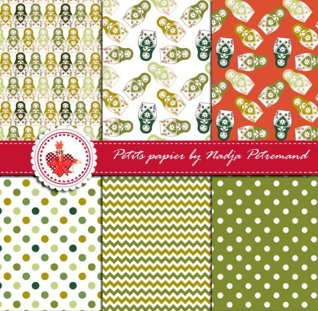 gratuit papier scrapbooking motif poupée russe vert présentation Free printable patterned papers