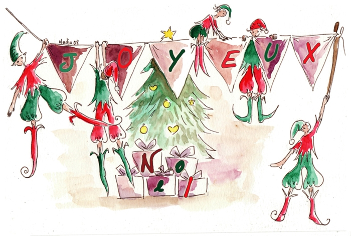 illustration aquarelle lutin joyeux noel