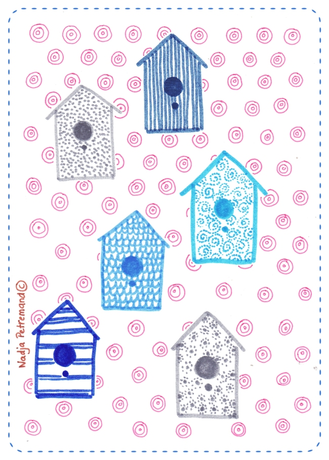 illustration bird house nichoir