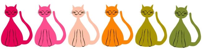 illustration chats multicolores