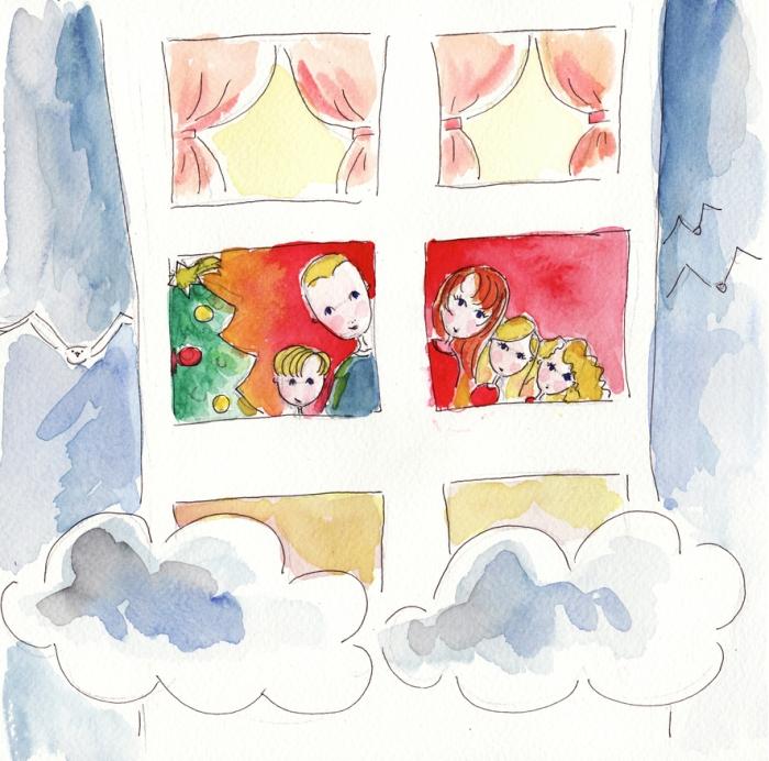 illustration famille dans les nuages voeux 2009
