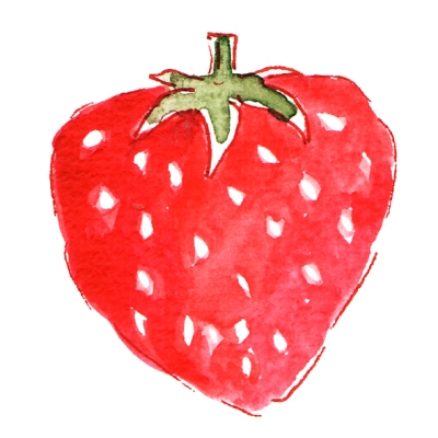 illustration fraise à l'aquarelle 1