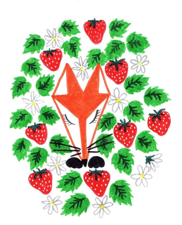 illustration moi de juin renard dans les fraises