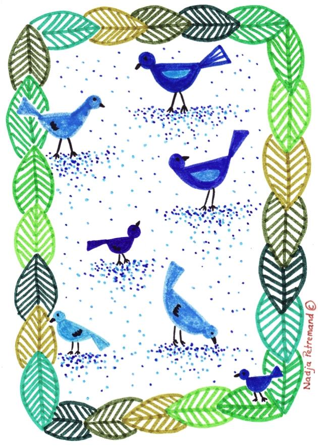 illustration oiseaux dans feuillage