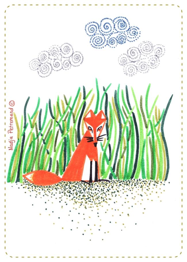 illustration petit renard assis dans l'herbe