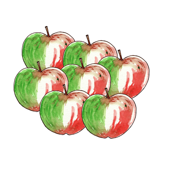 illustration pomme à l'aquarelle