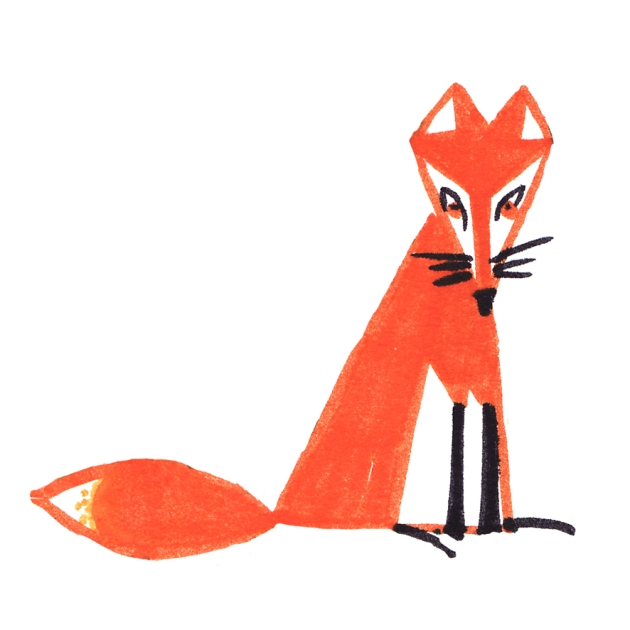 illustration renard assis