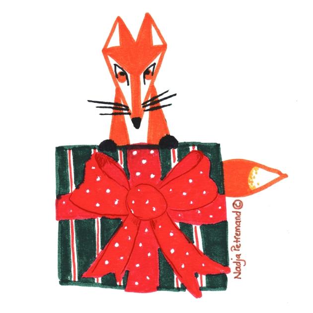 illustration renard avec un cadeau