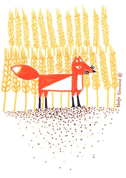 illustration renard dans les blés