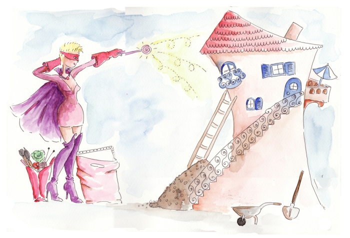 illustration super héroïne à l'aquarelle