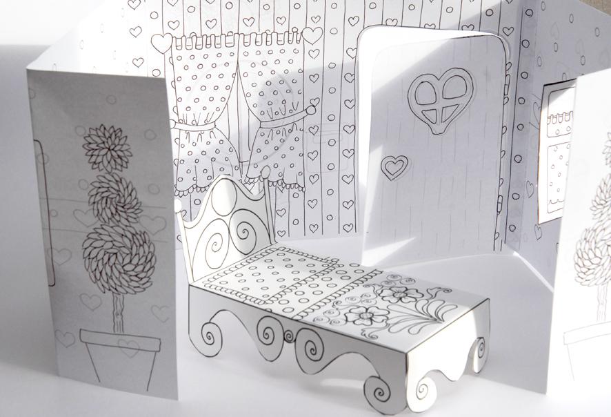 La maison de rose et simon colorier dans mon bocal for Maison en papier a construire