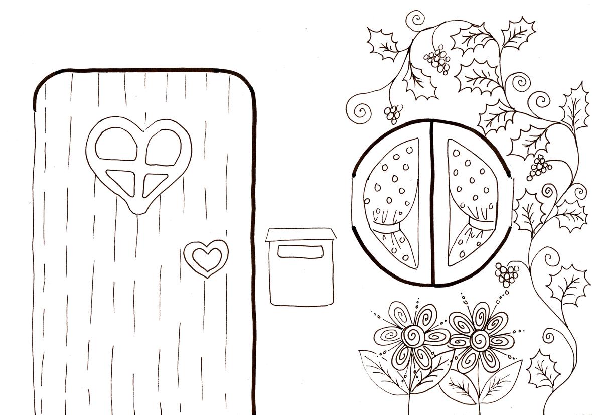 Dessin Porte Maison : La maison de rose et simon à colorier dans mon bocal