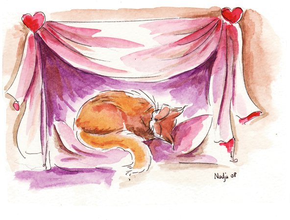 illustration à l'aquarelle chat qui dort