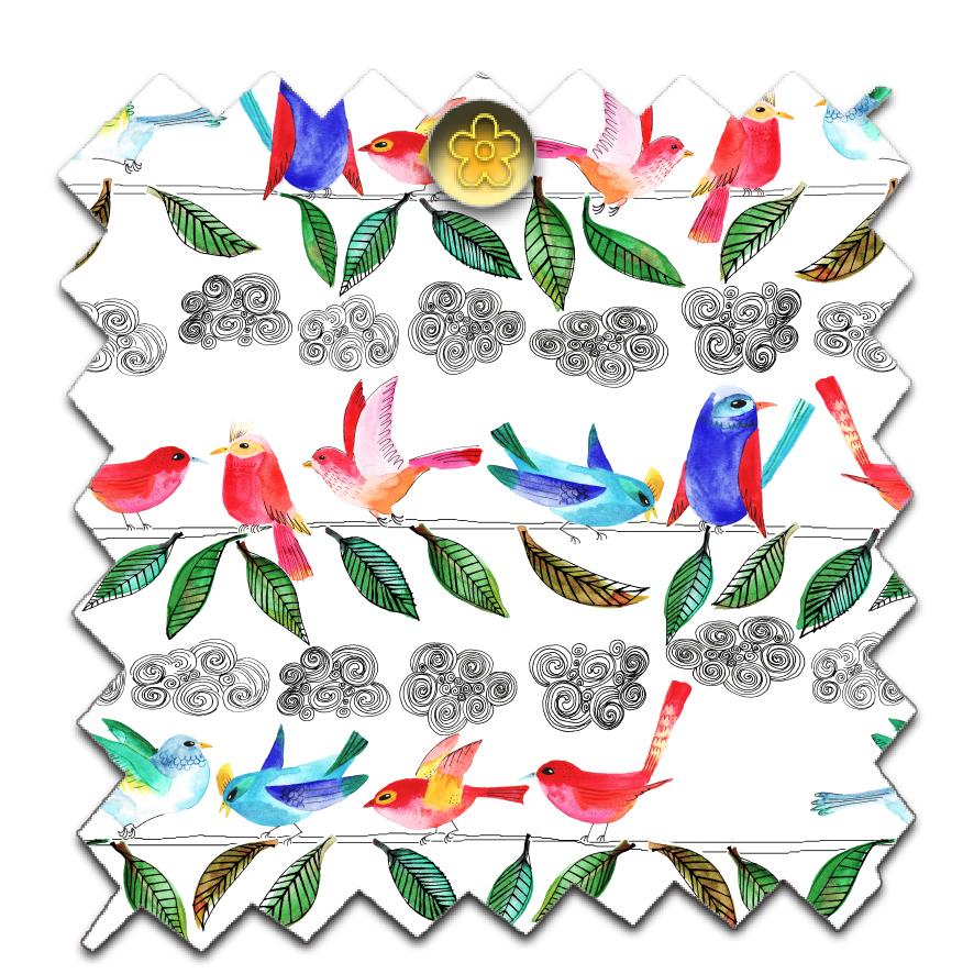 Petits papiers imprimer motifs oiseaux dans mon bocal - Imprimer photo sur tissu ...