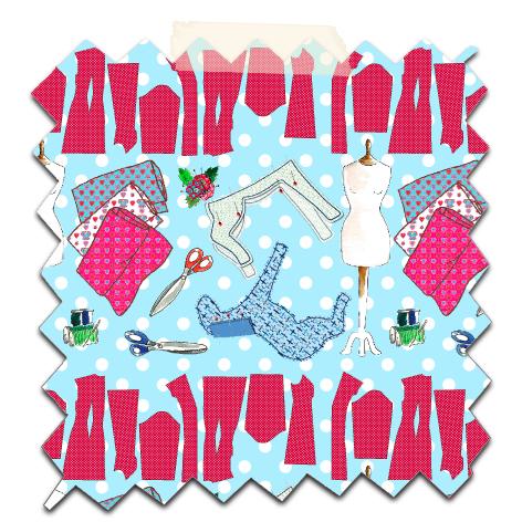 papier scrapbooking gratuit motif couture bleu 3
