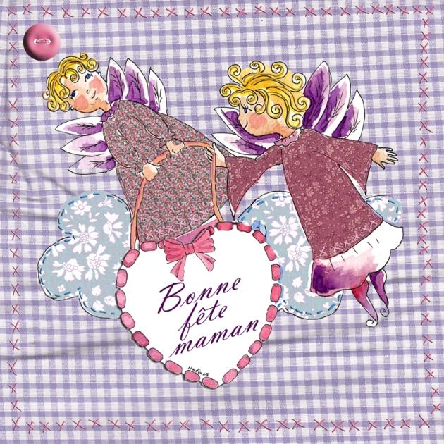planche carte fête des mères textile P