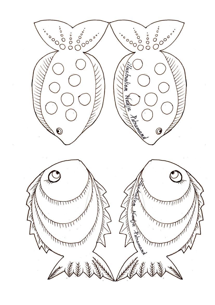 guirlande de poissons  u00e0 colorier