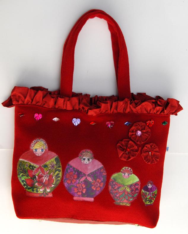 sac cabas poupée russe en appliqués