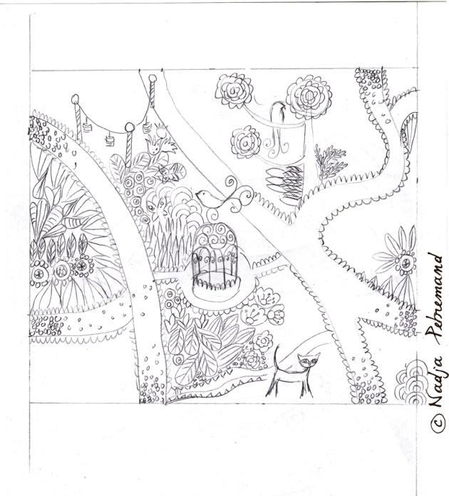 tissu jardin crayonné