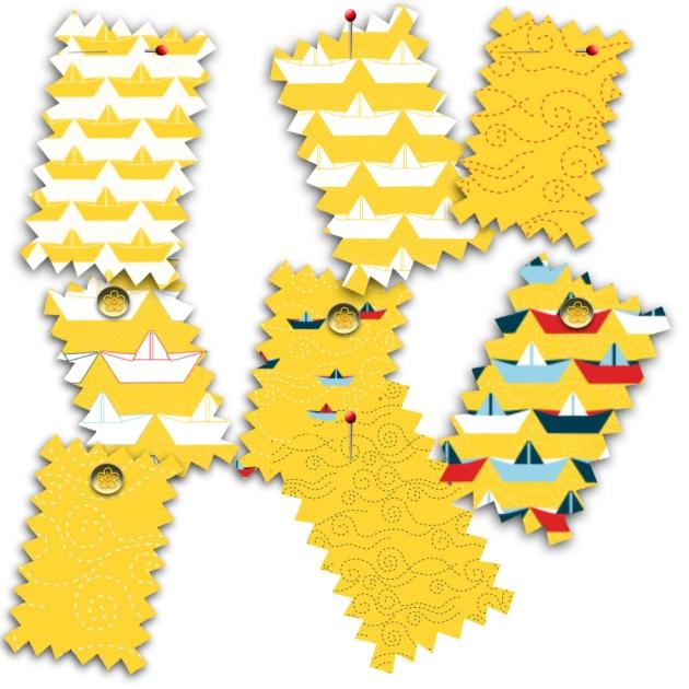tissu motif bateau papier jaune