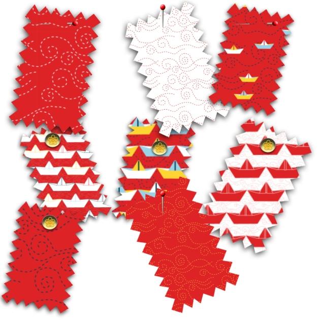 tissu motif bateau papier rouge