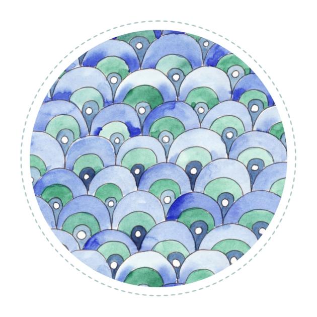 tissu motif coquille de mer aquarelle