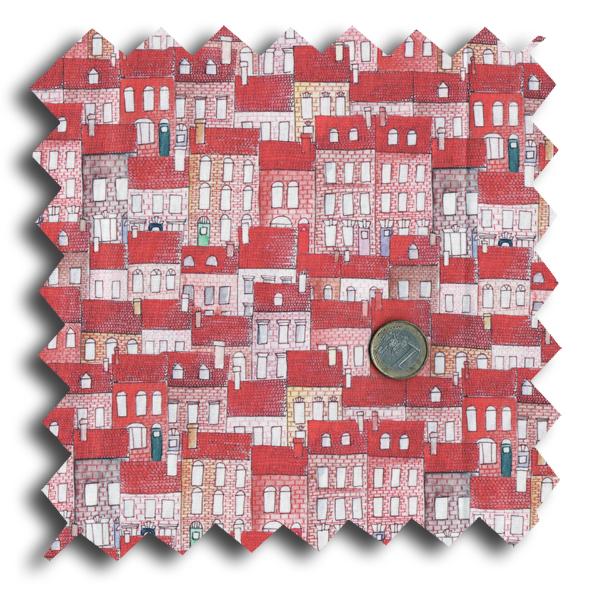 tissu petite maison couleur E