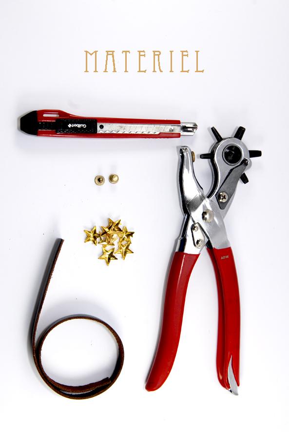 tuto bracelet en cuir étoilé matériel