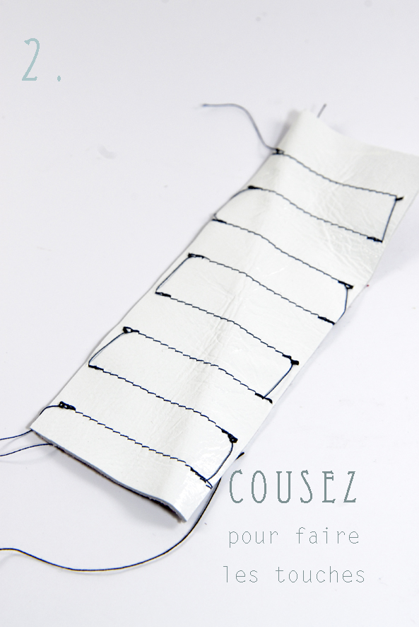 tuto bracelet piano en cuir- leather bracelt DIY 2