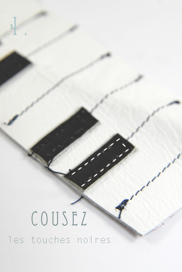 tuto bracelet piano en cuir- leather bracelt DIY 4