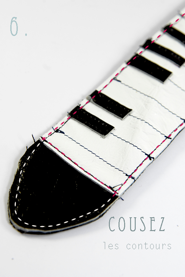 tuto bracelet piano en cuir- leather bracelt DIY 6