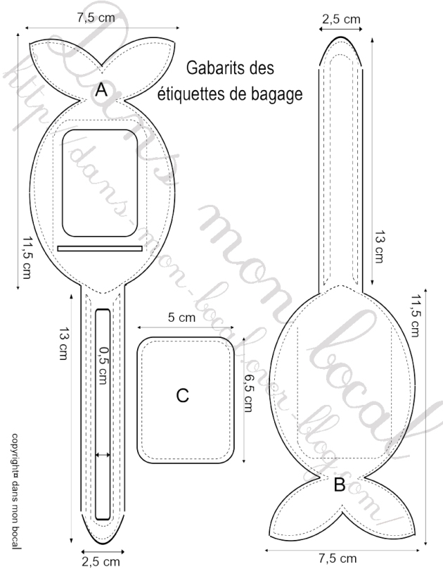 tuto etiquette bagage gabarits