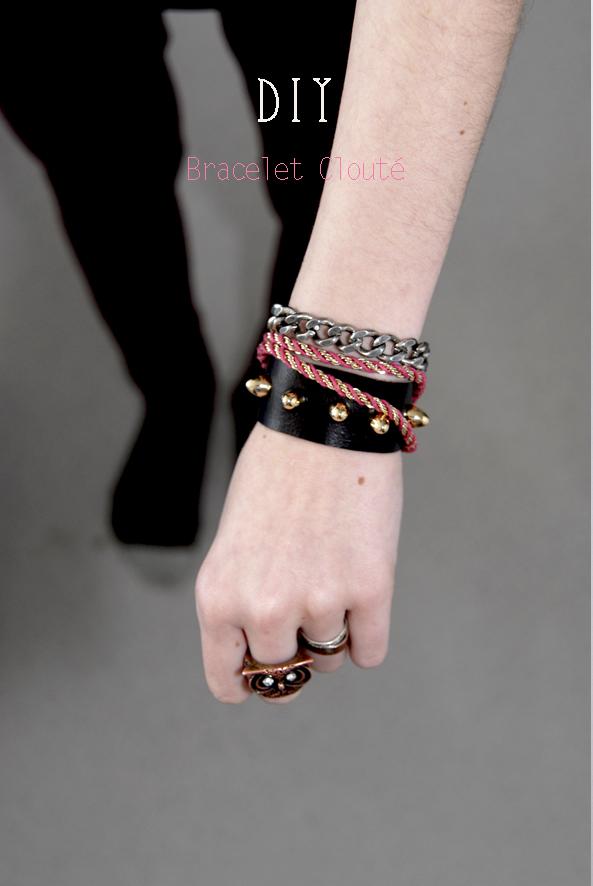 DIY bracelet en cuir clouté 1