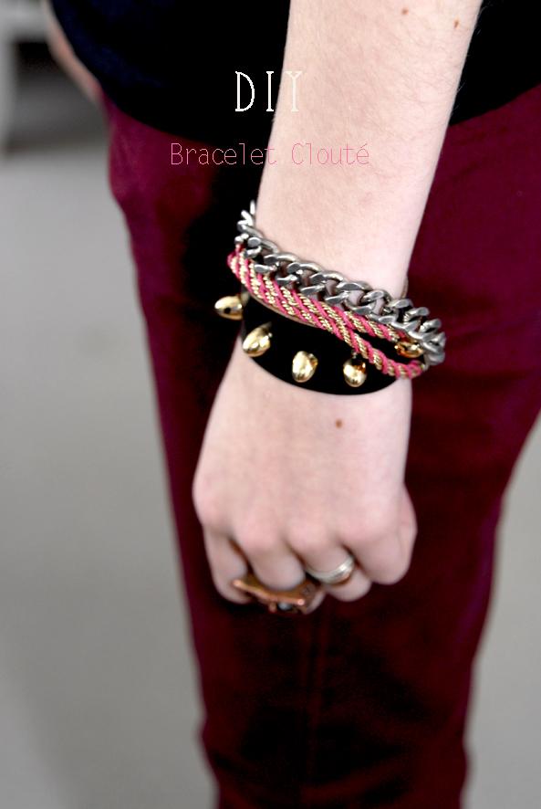 Tuto comment faire un bracelet en cuir clout dans mon bocal - Comment faire un bracelet avec des boutons ...