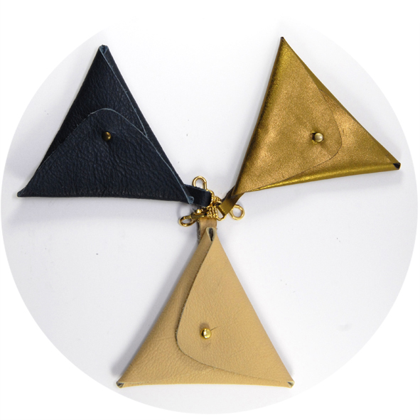 Diy porte monnaie en cuir triangle