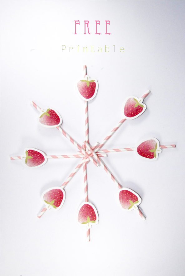 free printable stawberry label drinking straw 3