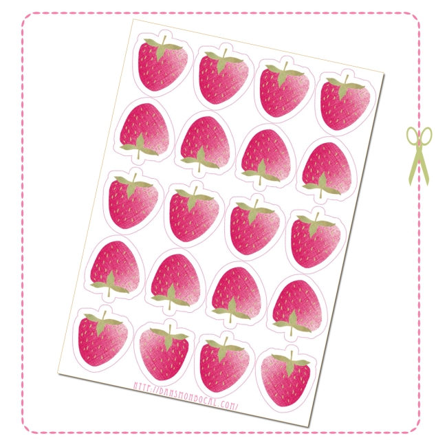 free printable stawberry label drinking straw