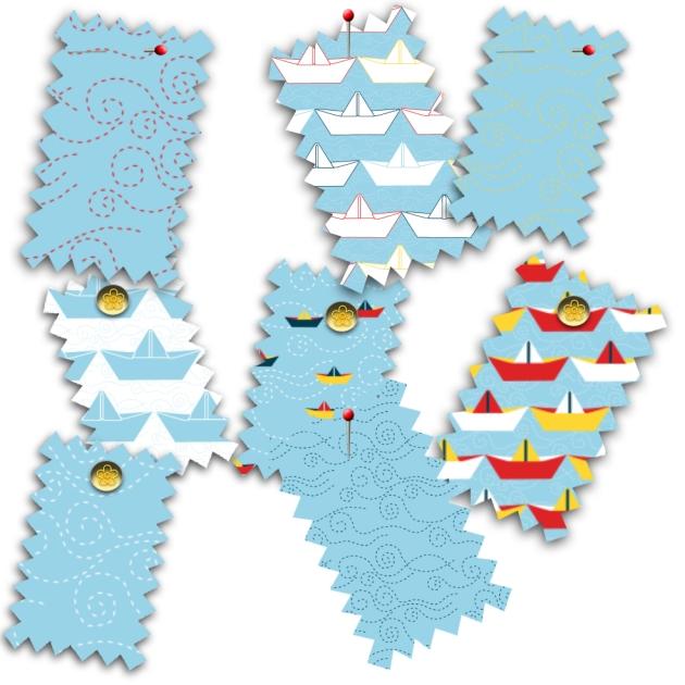 tissu motif bateau papier ciel