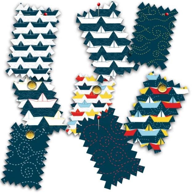 tissu motif bateau papier marine