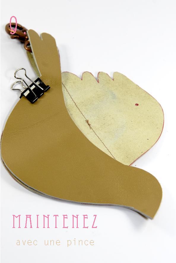 tuto porte-monnaie en cuir oiseau 9