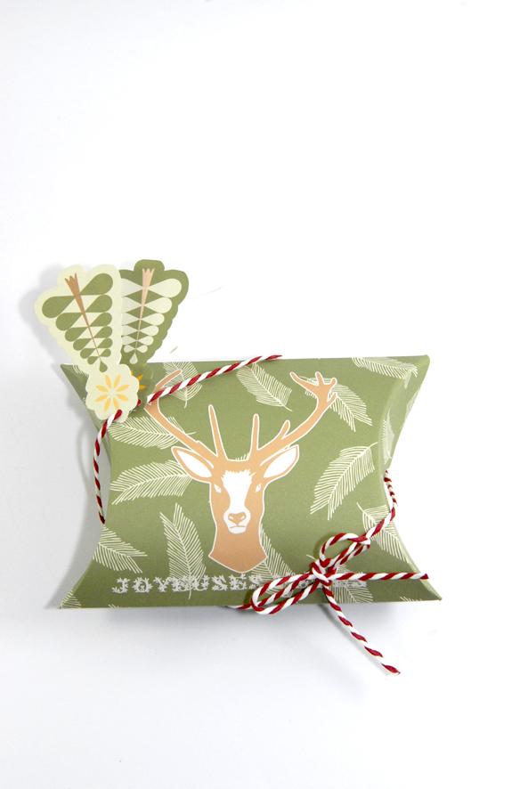 free printable christmass box fond vert sapin