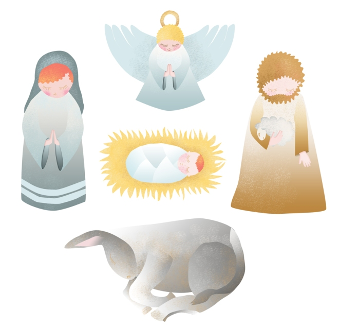 free printable  stichers nativity creche à imprimer en stickers marie joseph jesus