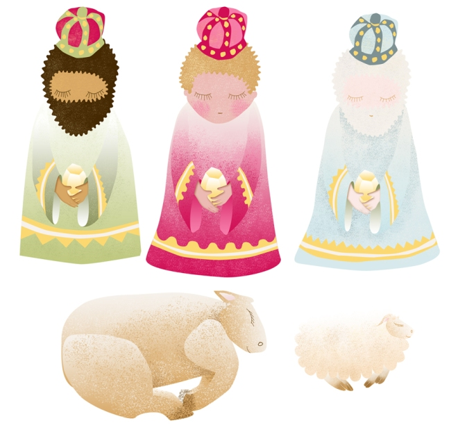 free printable  stichers nativity creche à imprimer en stickers rois mage boeuf mouton