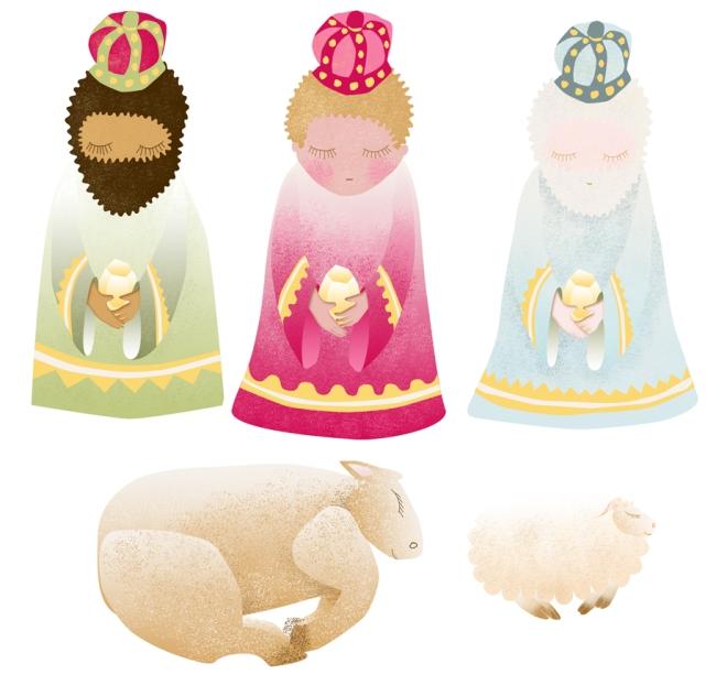 free printable  stichers nativity creche à imprimer en stickers rois mage boeuf mouton