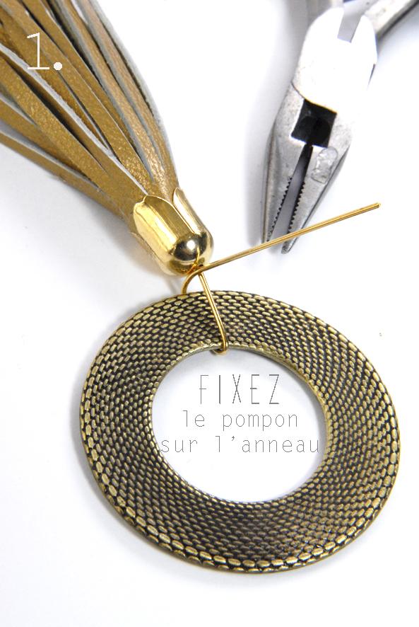 tuto pendentif pompon en cuir doré 1